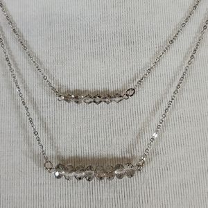 Jewelry - Silver double strand crystal bead bar necklace NWT